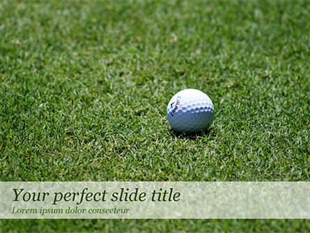 Sports: Golf Ball on Grass PowerPoint Template #15464