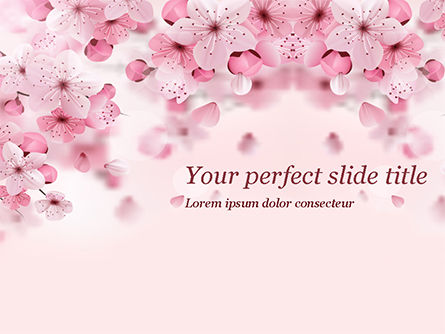 Nature & Environment: Delicate Sakura Flowers PowerPoint Template #15470