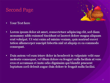 Holi Festival Jugs PowerPoint Template, Slide 2, 15482, Holiday/Special Occasion — PoweredTemplate.com