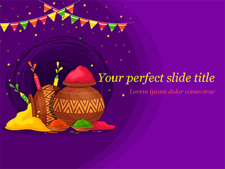 Holiday/Special Occasion: Holi Festival Jugs PowerPoint Template #15482