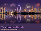 Construction: Singapore City Skyline at Night PowerPoint Template #15485