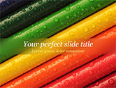 Education & Training: Colored Pencils with Water Drops PowerPoint Template #15492