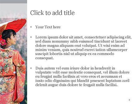 Asian Woman Wearing Traditional Japanese Kimono PowerPoint Template, Slide 3, 15494, People — PoweredTemplate.com