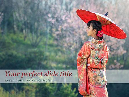 Asian Woman Wearing Traditional Japanese Kimono PowerPoint Template, 15494, People — PoweredTemplate.com