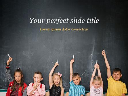 Education & Training: Kids Near Blackboard PowerPoint Template #15501