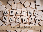 Medical: Mental Health Wooden Cubes PowerPoint Template #15514
