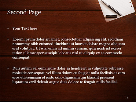 Blank Notepad Sheet with Pen on Wooden Table PowerPoint Template, Slide 2, 15531, Business Concepts — PoweredTemplate.com