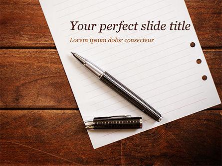 Business Concepts: 파워포인트 템플릿 - 나무 테이블에 펜으로 빈 메모장 시트 #15531