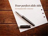 Business Concepts: Blank Notepad Sheet with Pen on Wooden Table PowerPoint Template #15531