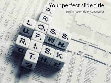 Business Concepts: Winstverlies En Risicocrosswordt Blokken Op Tafel PowerPoint Template #15537