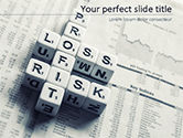 Business Concepts: Profit Loss and Risk Crossword Blocks on Table PowerPoint Template #15537