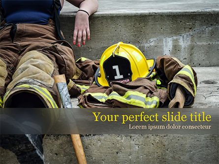 Female Firefighter PowerPoint Template, 15547, Careers/Industry — PoweredTemplate.com