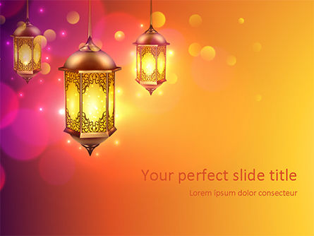 Holiday/Special Occasion: Lanterns for Ramadan PowerPoint Template #15550