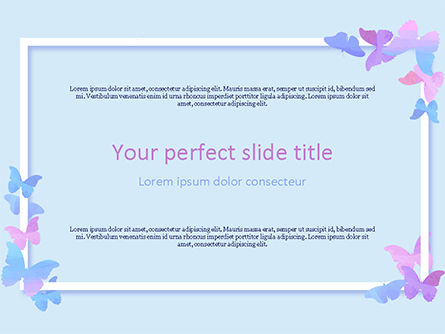 Abstract/Textures: Delicate Frame with Butterflies PowerPoint Template #15556