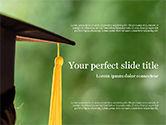 Education & Training: University Graduate Wears Black Cap with Yellow Tassel PowerPoint Template #15561