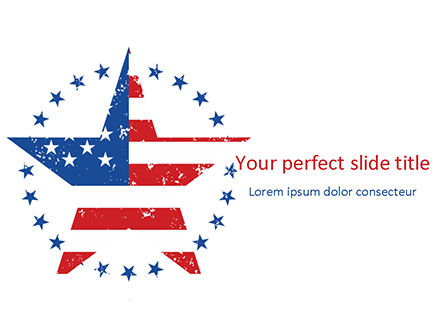 America: Star with USA Flag PowerPoint Template #15562