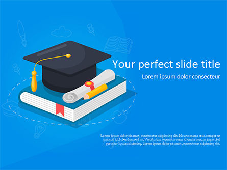 Education & Training: Graduation Cap with Diploma and Book PowerPoint Template #15563