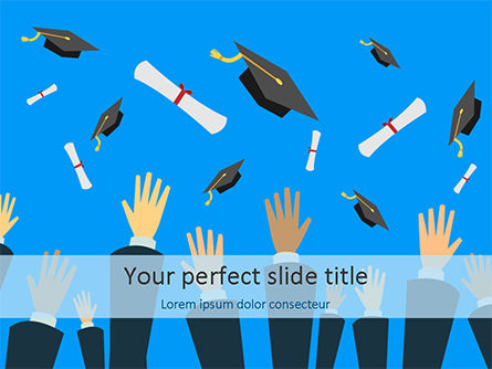 Education & Training: Hands Throwing Graduation Hats and Diplomas in the Air PowerPoint Template #15567