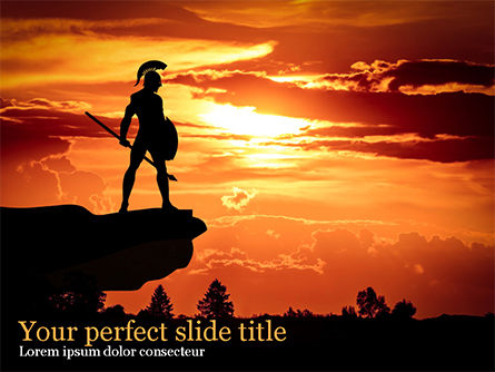 Education & Training: Spartan Warrior Silhouette PowerPoint Template #15569