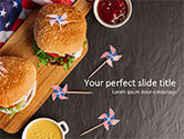 Food & Beverage: Top View of Hamburgers and Sauces PowerPoint Template #15570