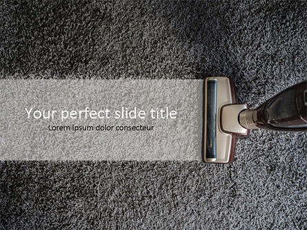 Top View of Carpet and Vacuum Cleaner Brush PowerPoint Template, 15575, Careers/Industry — PoweredTemplate.com