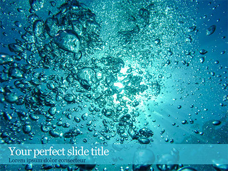 Nature & Environment: Under Water Bubbles PowerPoint Template #15581