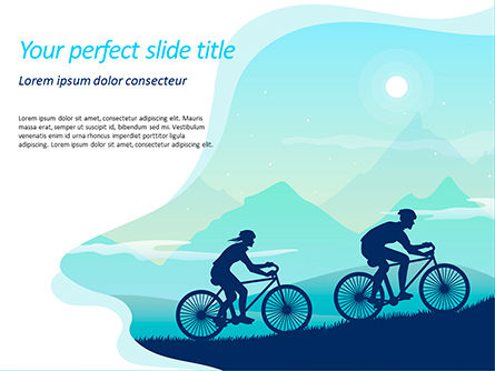 Sports: Mountain Travel on Bicycle PowerPoint Template #15582