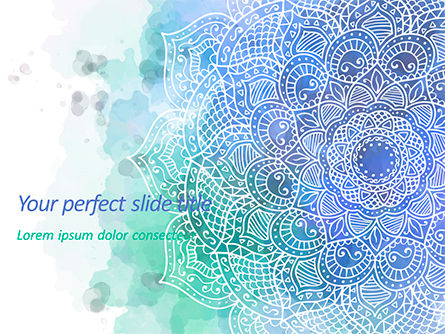 Abstract/Textures: Blauwe Mandala Bloem Presentatiesjabloon PowerPoint Template #15592