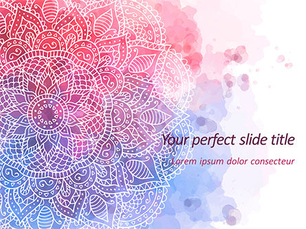 Abstract/Textures: Roze En Blauwe Mandala Bloem Presentatiesjabloon PowerPoint Template #15594
