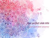Abstract/Textures: Roze En Blauwe Mandala Bloem Presentatiesjabloon PowerPoint Template #15594