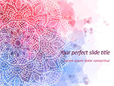 Abstract/Textures: Templat PowerPoint Template Presentasi Bunga Mandala Merah Muda Dan Biru #15594