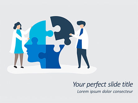 Education & Training: People Connecting Jigsaw Pieces of a Head Together PowerPoint Template #15598