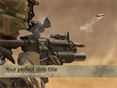 Military: Shot from Automatic Weapon PowerPoint Template #15607