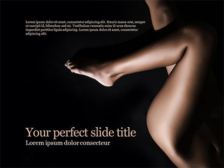 People: Sexy Female Nude Legs in Darkness PowerPoint Template #15609