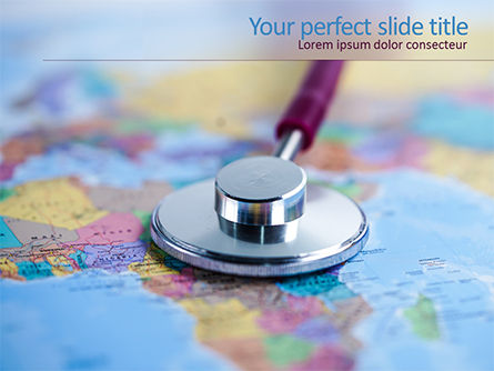 Medical: Stethoscope on Africa Map PowerPoint Template #15610