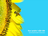 Nature & Environment: Bee Flies to Sunflower PowerPoint Template #15611