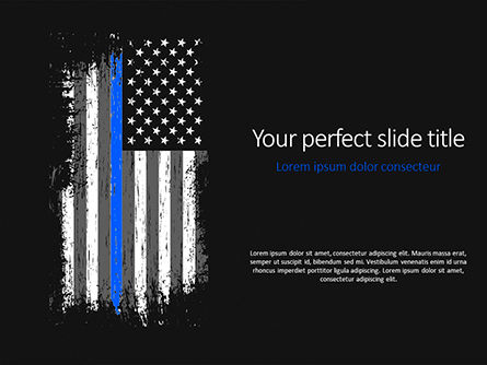 Military: Thin Blue Line American Flag PowerPoint Template #15621