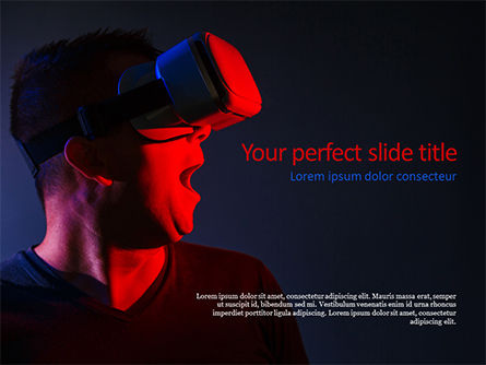 Technology and Science: Excited Guy Using a VR Headset PowerPoint Template #15622