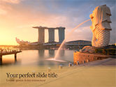 Flags/International: Morning View to Marina Bay Sands PowerPoint Template #15624