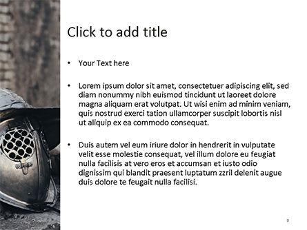 Ancient Medieval Helmet PowerPoint Template, Slide 3, 15627, Education & Training — PoweredTemplate.com