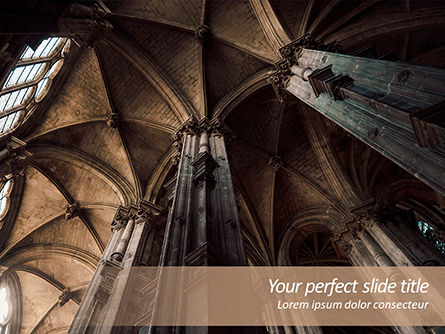 Construction: Medieval Cathedral Ceiling PowerPoint Template #15629