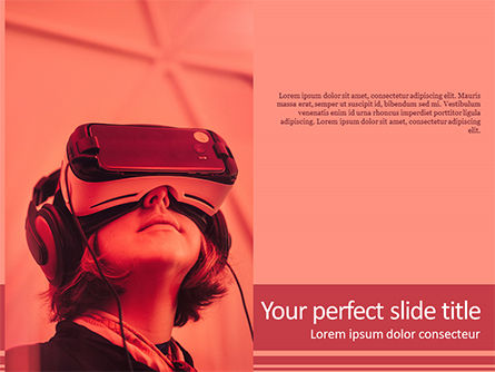 Woman Wearing VR Headset PowerPoint Template, 15655, Art & Entertainment — PoweredTemplate.com