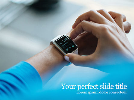 White Smartwatch PowerPoint Template, 15659, Technology and Science — PoweredTemplate.com