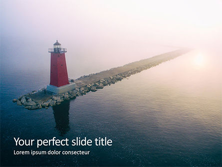 Nature & Environment: Manistique East Breakwater Light PowerPoint Template #15670