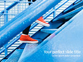 Business Concepts: Person Stepping Up Blue Stairs PowerPoint Template #15676