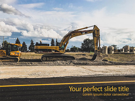 Construction: Road Construction Machinery PowerPoint Template #15689