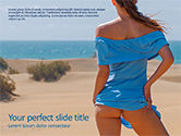 People: Sexy Woman Looking at Ocean PowerPoint Template #15702