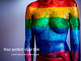 People: Woman Body in Colored Glitter PowerPoint Template #15712