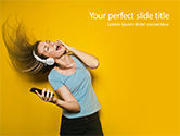 People: Happy Woman Listening Music in Headphones and Dancing PowerPoint Template #15713
