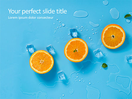 Food & Beverage: Summer Background with Oranges PowerPoint Template #15722